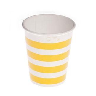 Bicchieri a righe giallo 10 pezzi