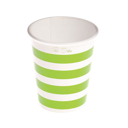Bicchieri a righe verde lime 10 pezzi