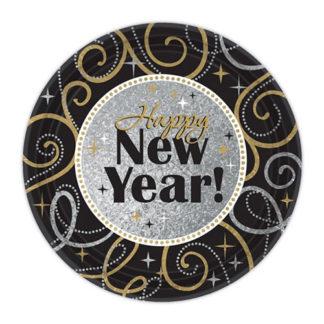 Piatti Happy New Year prismatici 8 pezzi
