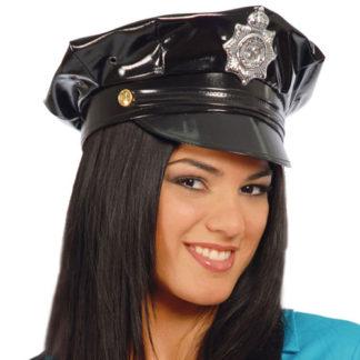 Cappello Poliziotto in vinile Nero