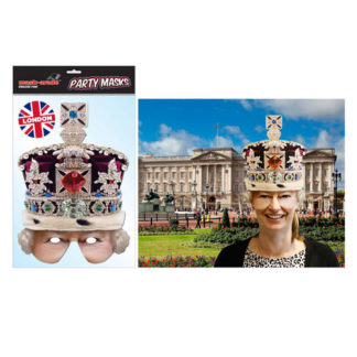 Maschera British Regina Elisabetta in cartoncino