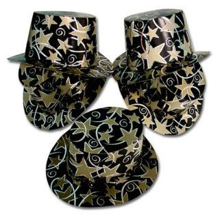 Cappelli cilindro neri con stelle conf. 12 pezzi