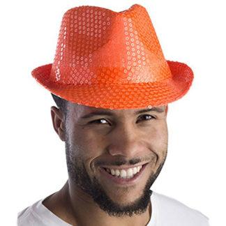 Cappello con paillettes Arancio Neon