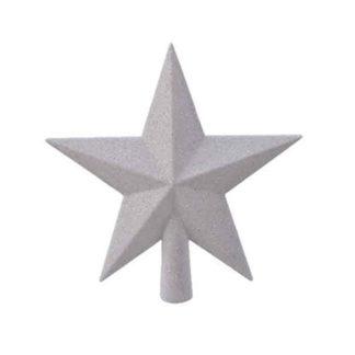 Puntale stella glitterata bianca cm 19