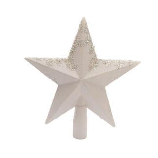 Puntale stella glitter bianca cm 19