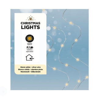 Filo 40 micro luci led bianco caldo a batteria mt 2