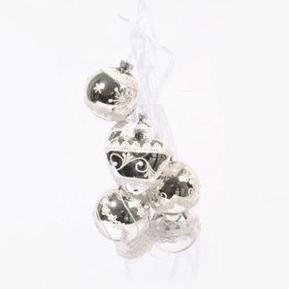 Grappolo di palline e cuori argento con nastri set 7 pezzi