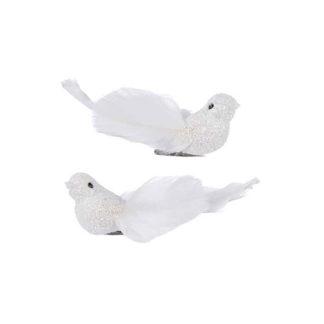 Uccellini bianchi con clip set 2 pz. cm 9