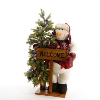 Pupazzo di neve Welcome con albero e luci cm 108