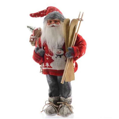 Babbo Natale rosso con sci cm 60