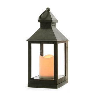 Lanterna pvc grigia con led e timer cm 24
