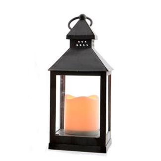 Lanterna pvc nera con led e timer cm 24