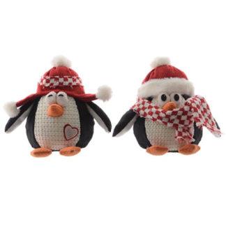 Pinguino natalizio in tessuto cm. 26
