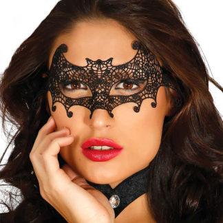 Maschera pipistrello pizzo macramè nero