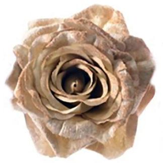 Rosa maxi in velluto oro con clip cm 25