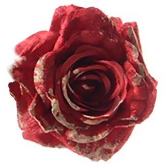 Rosa maxi in velluto rosso con clip cm 25