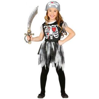 Costume scheletro Pirata bimba 7 - 9 anni