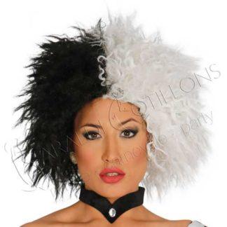 parrucca crudelia bianca e nera vk331