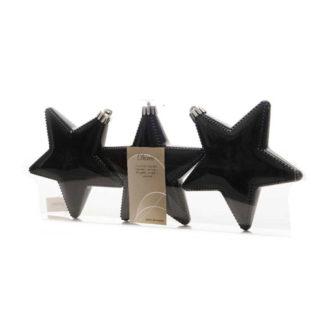 Stelle lucide nere set 3 pezzi cm 12