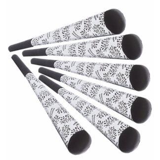 Trombe Buon Anno argento cm 25 set 6 pezzi