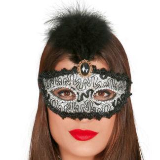 Maschera Veneziana nera e argento con piume