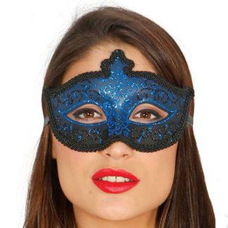 Maschera Veneziana Glitter Blu