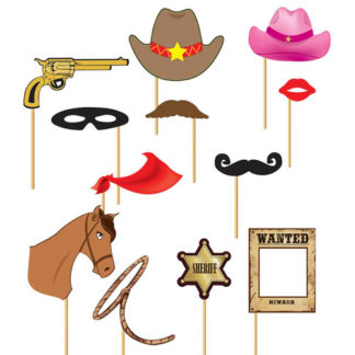 Bastoncini Western photo booth set 12 pezzi