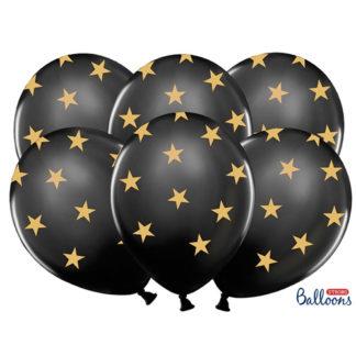 Palloncini neri con stelle oro conf 6 pezzi
