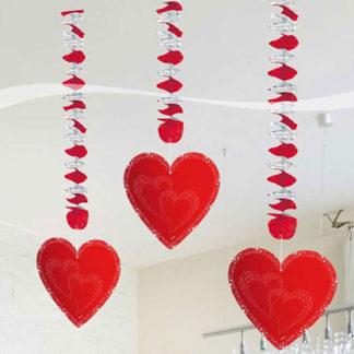 Cuori pendenti San Valentino cm 75 conf. 3 pz.