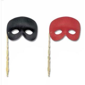 Maschera Domino con bastoncino nera e rossa