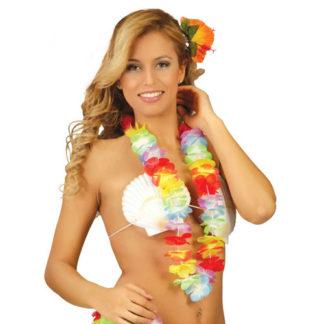 Collana Hawaiana fiori multicolor set 10 pezzi