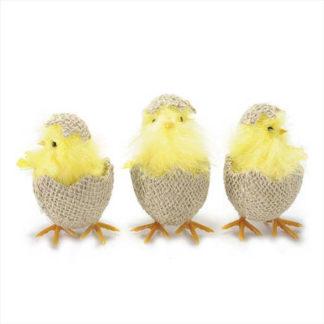 Decoro pulcino in uovo di juta cm 10,5