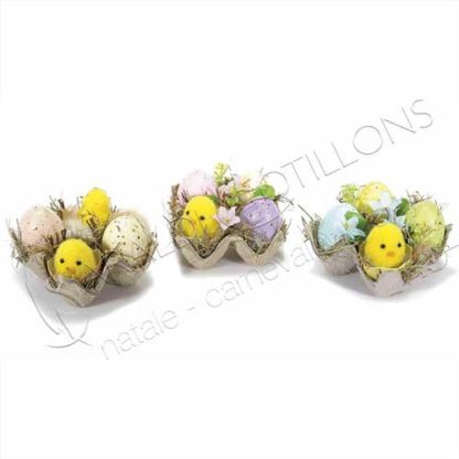 Decoro Pasquale con uova pulcini e fiori pq017