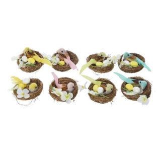 Decoro uccellino con uova nel nido set 2 pezzi cm 6