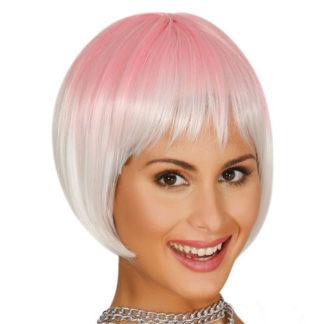 Parrucca corta rosa sfumata