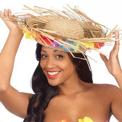 Cappello Hawaii in paglia con fiori