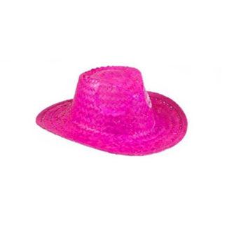 Cappello Cow Boy paglia fucsia neon