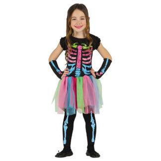 Costume Scheletro Neon bimba 3 - 4 anni