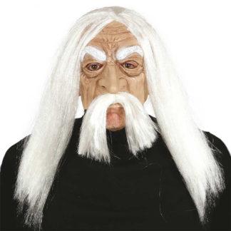 Maschera stile Gandalf con capelli e baffi