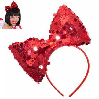Cerchietto con fiocco in paillettes rosso