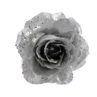 Rosa glitterata Argento con clip