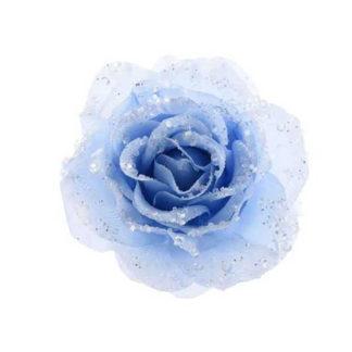 Rosa glitterata Iceblue con clip