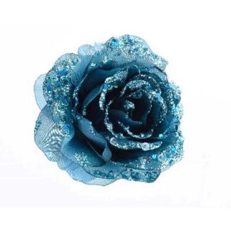 Rosa glitterata Petrol blue con clip