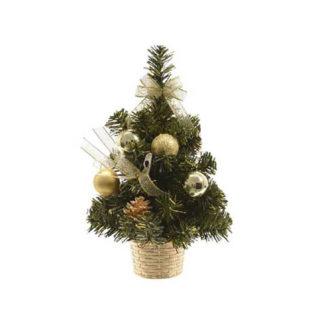 Alberino di Natale decorato oro cm 20