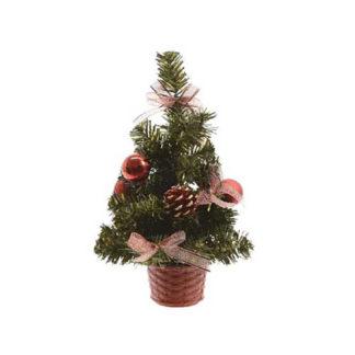 Alberino di Natale decorato rosso cm 20