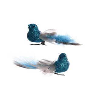 Uccellini Petrol Blu con clip set 2 pezzi cm 9