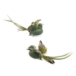 Uccellini Verdi set 2 pezzi cm. 13