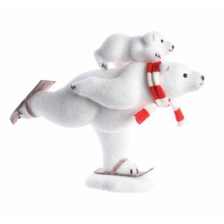 Orso sugli sci con cucciolo cm 50