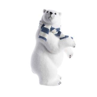 Orso Polare con sciarpa bianca e blu cm 48