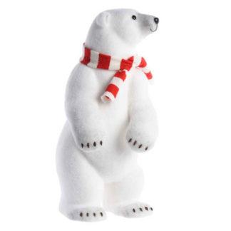 Orso Polare con sciarpa bianca e rossa cm 65